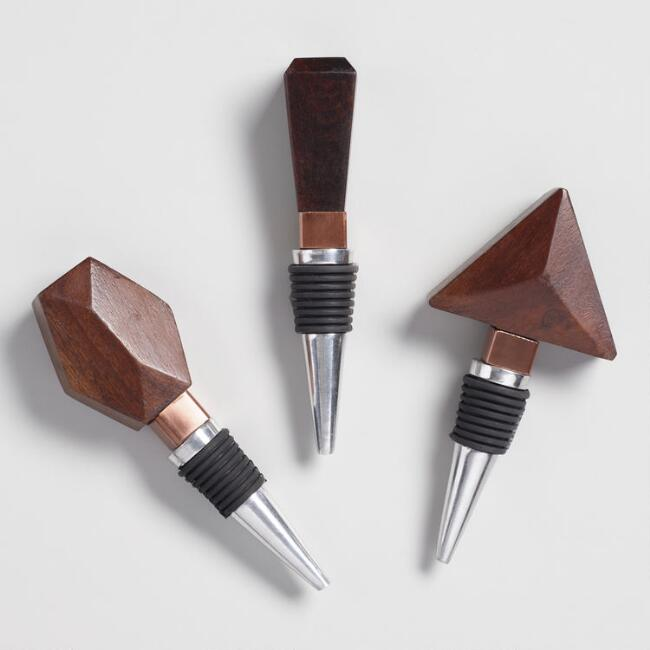 Geometric Wood and Copper Wine Stoppers Set of 3