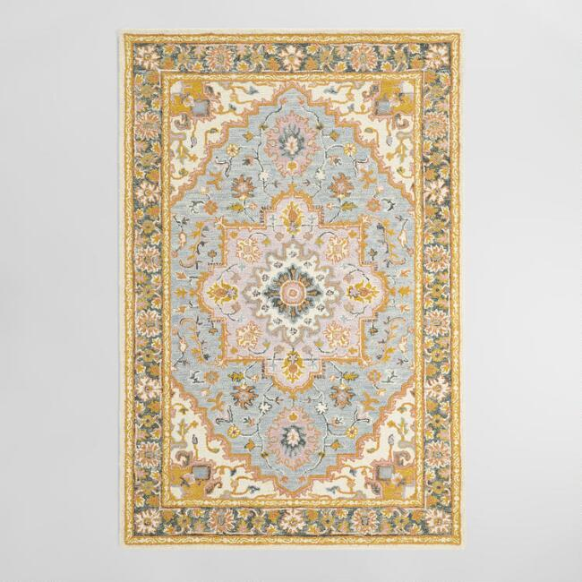 Gray Persian Style Tufted Wool Shilar Area Rug