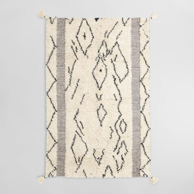 Ivory and Black Moroccan Style Wool Shag Marrakesh Area Rug