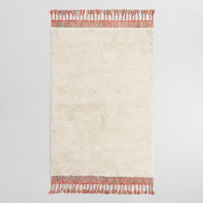 Ivory Shag Satara Area Rug with Recycled Silk Border