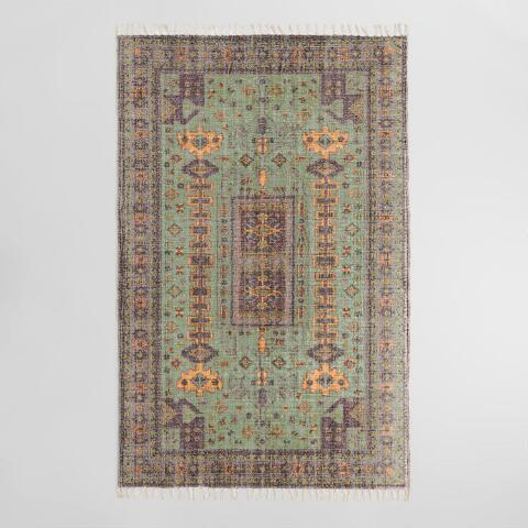 Green And Purple Persian Style Print Cotton Laila Area Rug World