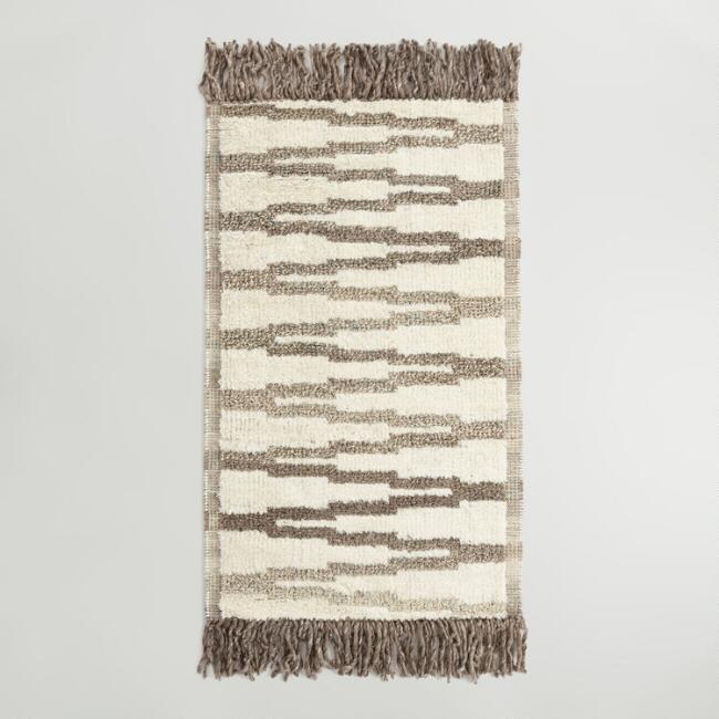 Brown and Blue Zigzag Woven Wool Naaz Area Rug