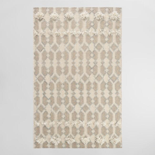 Taupe and Gray Geometric Tufted Wool Kilim Nirav Area Rug