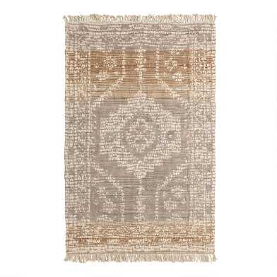 Persian Style Woven Jute Dehra Area Rug with Backing