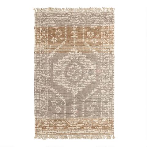 155ce884180 Persian Style Print Woven Jute Dehra Area Rug with Backing