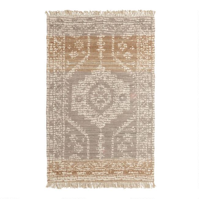 Persian Style Print Woven Jute Dehra Area Rug with Backing