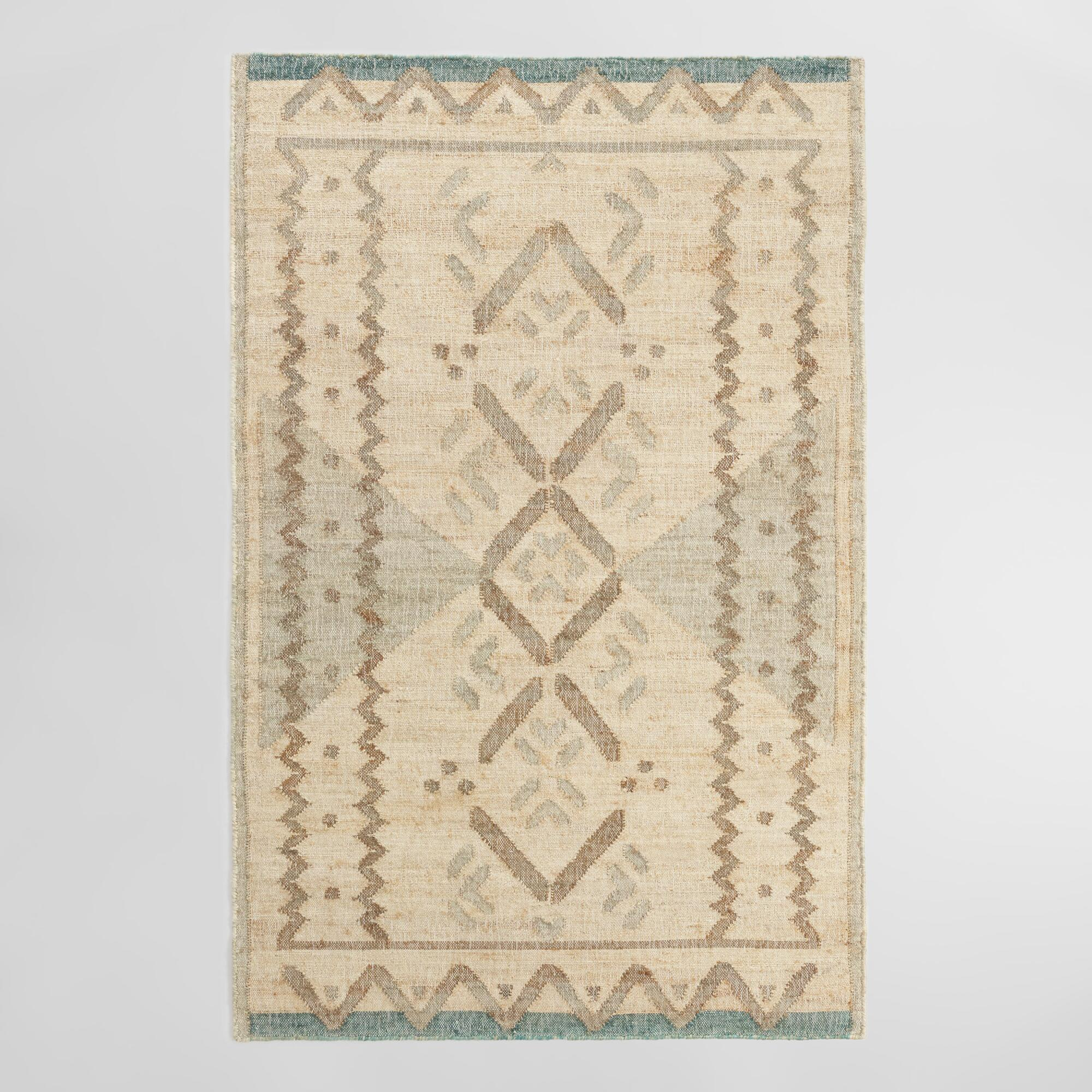 Natural and Jade Green Diamond Flatweave Jute Blend Area Rug - 8Ftx10Ft by World Market 8Ftx10Ft