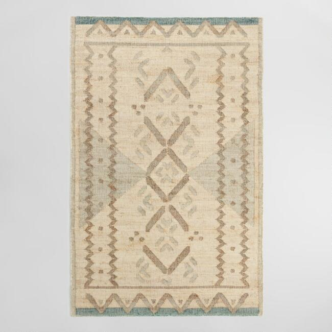 Natural and Jade Green Diamond Flatweave Jute Blend Area Rug