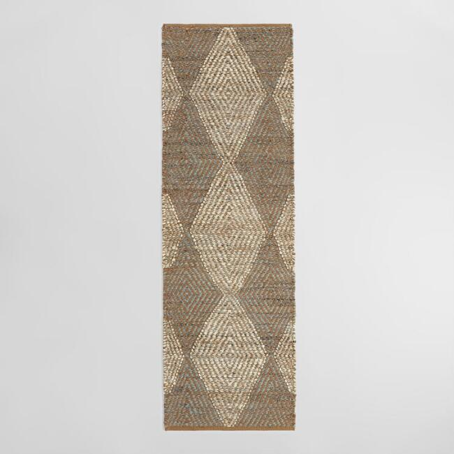Brown and Blue Diamond Chunky Jute Landon Floor Runner