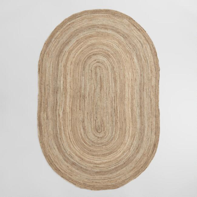 Oval Natural Chunky Braided Jute Area Rug