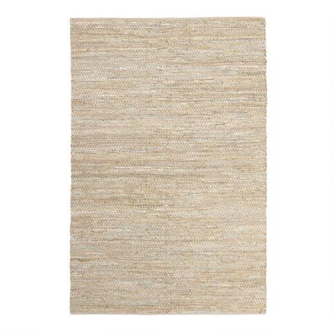 Metallic Gold And Ivory Leather Jute Woven Area Rug