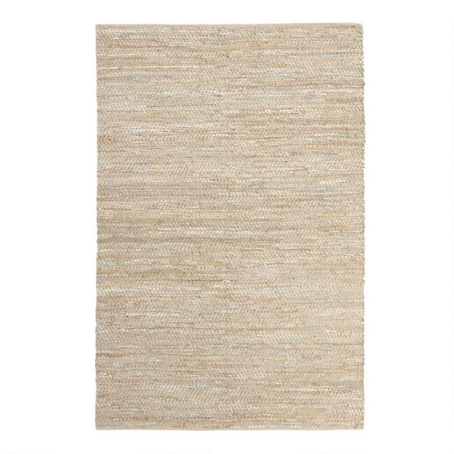 Metallic Gold And Ivory Leather And Jute Woven Area Rug
