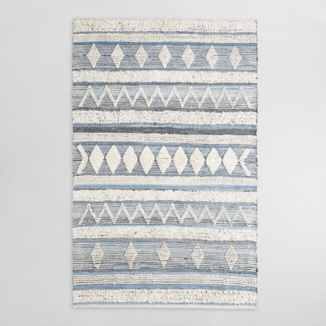 Ivory Textured Diamond Denim and Wool Skylar Area Rug