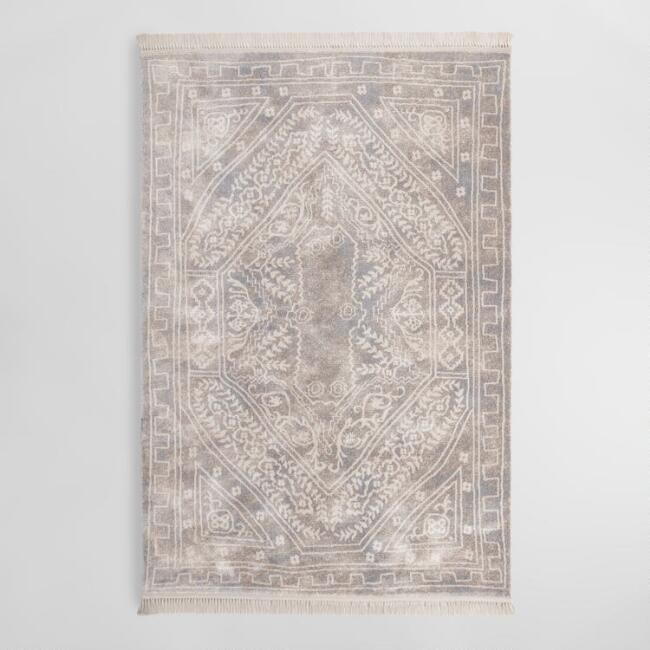 Ivory and Light Gray Medallion Talia Area Rug