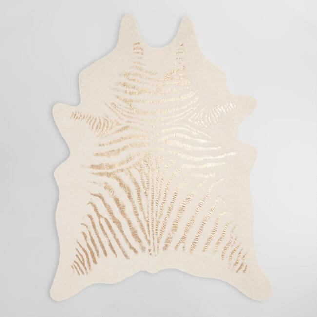 Gold and Ivory Faux Zebra Hide Area Rug