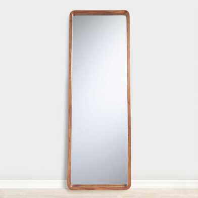 Natural Wood Leaning Full Length Floor Mirror