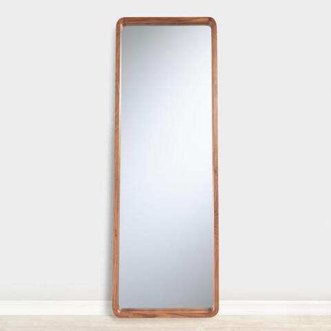 Natural Wood Leaning Full Length Floor Mirror World Market
