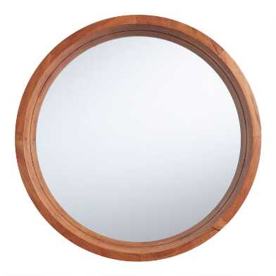 Large Round Natural Wood Wall Mirror