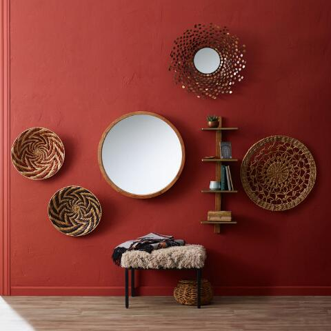 Large Round Natural Wood Wall Mirror World Market