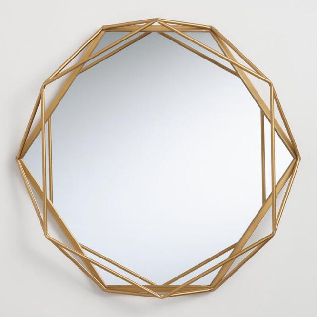 Round Gold Geometric Wall Mirror