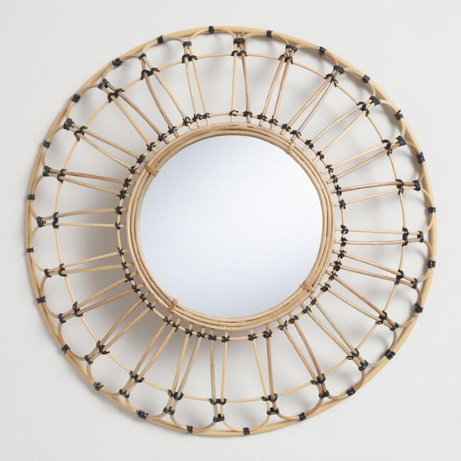 Round Natural and Black Rattan Wall Mirror