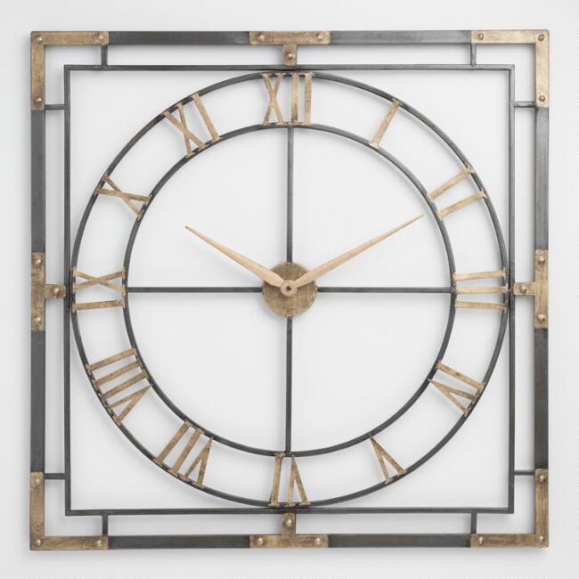 Square Black and Gold Wall Clock