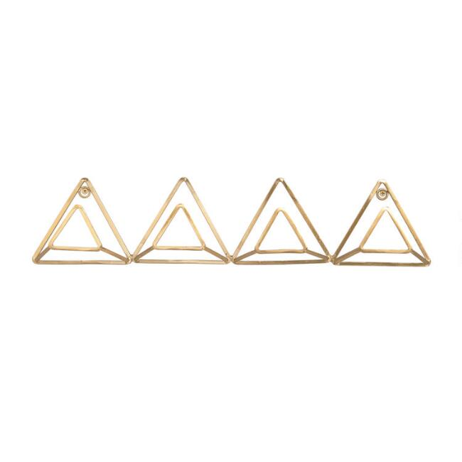 Gold Wire Triangle Wire 4 Hook Wall Rack