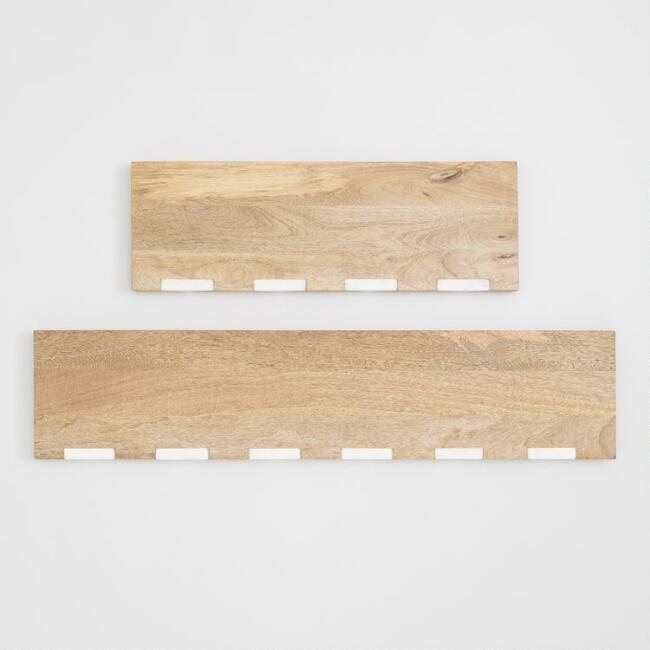 Wood and Marble Inlay Mix & Match Wall Shelves