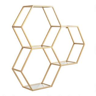 Gold And Gl Honeycomb Wall Shelf
