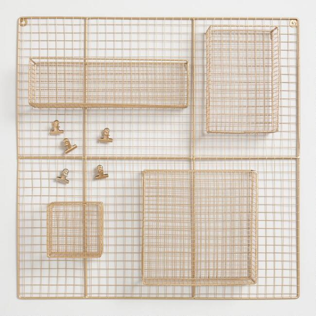 Gold Wire Adjustable Wall Organizer