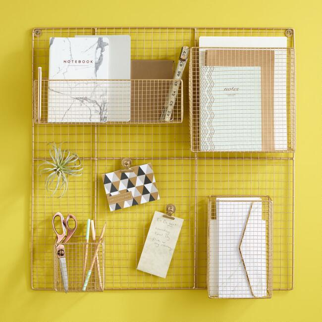 Gold Wire Adjustable Wall Organizer WORLD MARKET