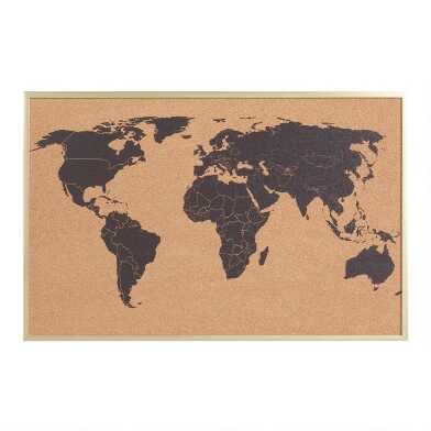World Map Corkboard with Pushpins