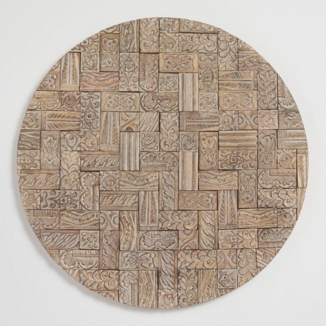 Round Mosaic Carved Wood Plaque Wall Decor