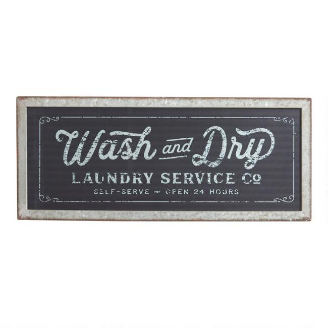 Wash And Dry Laundry Galvanized Metal Sign