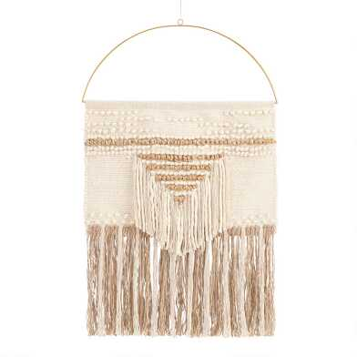 White and Gold Woven Wall Hanging