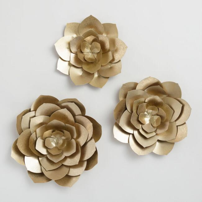 Gold Metal Flowers Wall Art Set of 3 | World Market