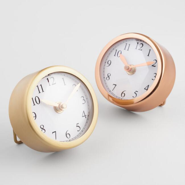 Small Round Gold Clocks Set of 2