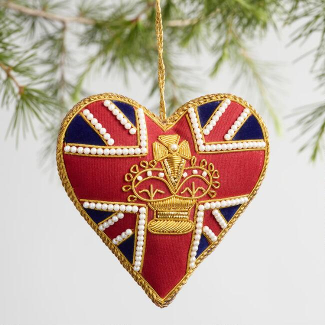 Beaded British Heart Ornaments Set of 2