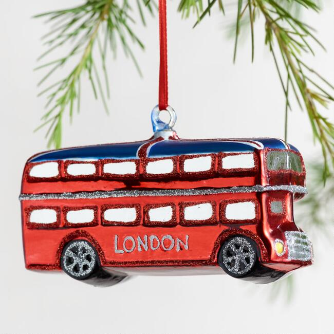 Glittered Glass London Bus Ornament