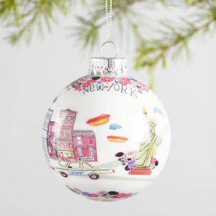 illustrated city glass ball ornaments set of 4 - Christmas Photo Ornaments