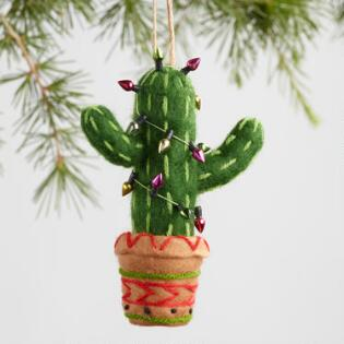 fabric southwestern ornaments set of 3 - Cactus Christmas Decorations