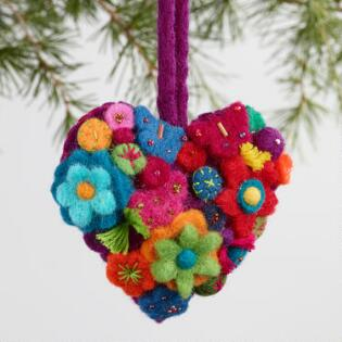 Unique christmas ornaments and holiday ornaments world market felt flower heart ornaments set of 3 solutioingenieria Gallery