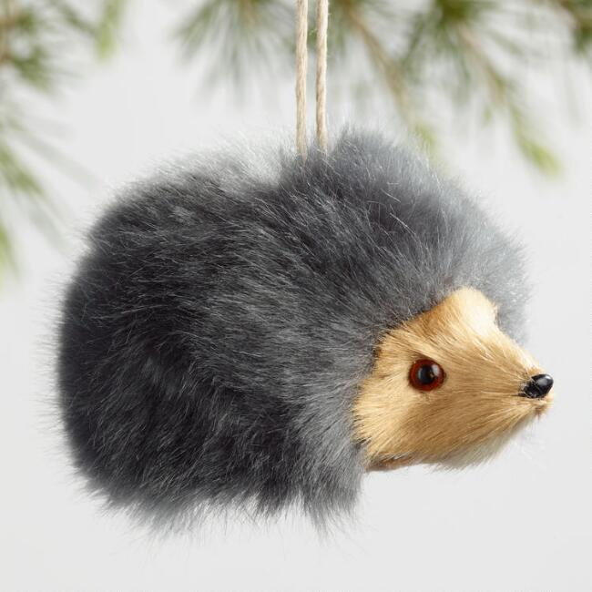 Faux Fur Fabric Hedgehog Ornaments Set of 3