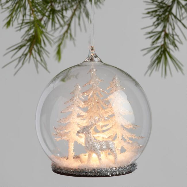 glass cloche winter scene led light up ornaments set of 2