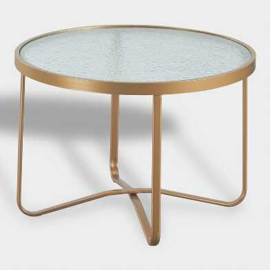 Round Gold Metal Laila Outdoor Occasional Coffee Table