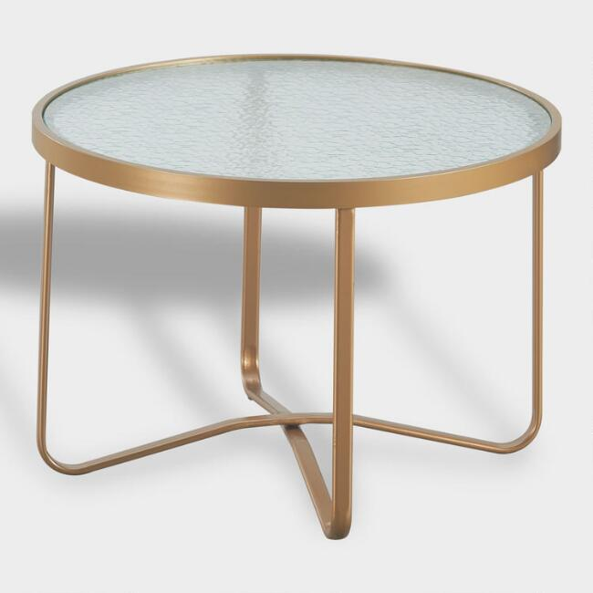 Round Gold Metal Laila Outdoor Coffee Table