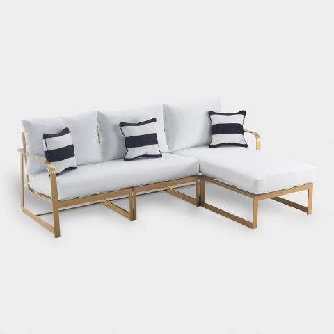 Gold Laila 2 Piece Outdoor Occasional Sectional Sofa