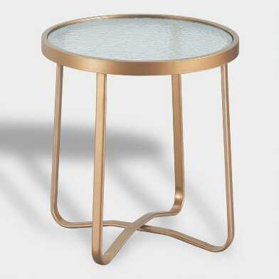 Round Gold Metal Laila Outdoor Occasional Accent Table