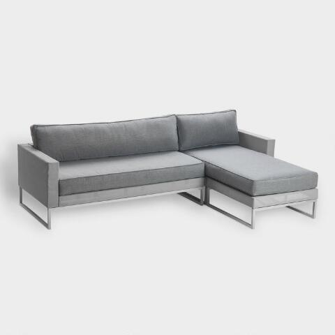Outstanding Gray Mesh Moreau 2 Piece Outdoor Occasional Sectional Sofa Gmtry Best Dining Table And Chair Ideas Images Gmtryco