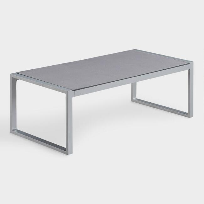 Gray Metal And Glass Moreau Outdoor Coffee Table